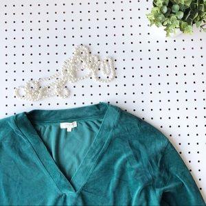 UMGEE velvet pullover v neck sweatshirt sweater L
